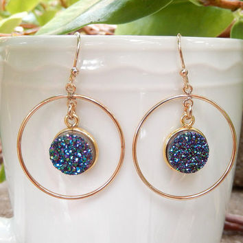 Peacock Druzy Earrings Gold Chandelier Drusy Hoop Quartz Green Teal Round Circle Drops - Free Shipping Jewelry