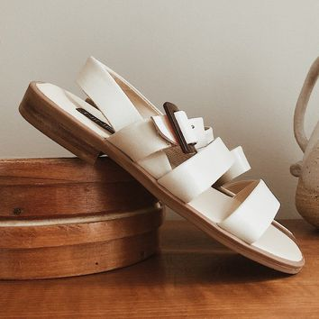 Vintage 1990's Cream Leather Sandals | Size 6.5