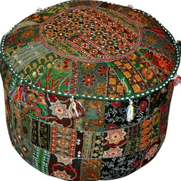 Green Bohemian Embroidered Ottoman Cover Footstool Decorative Tuffet bean bag banjara furniture Indian pouf foot stool chair cover pouffe