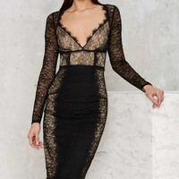 Nasty Gal Must Be the Lace Midi Dress