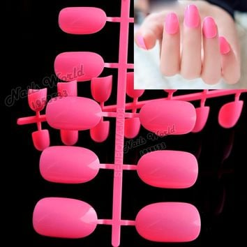 24pcs New False Nails Lovely Candy Color Nail Plate Tips Acrylic Nails Small Round Head Fake Nails Peach Red P81-X