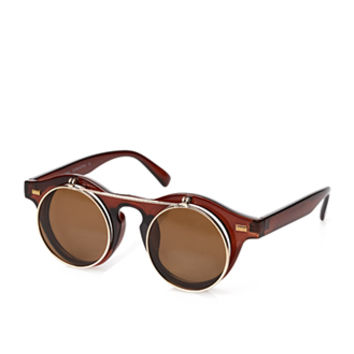 Round Flip-Up Sunglasses Brown/Gold One