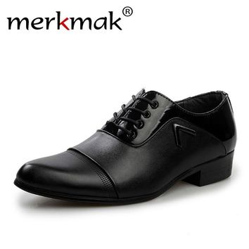 Merkmak New Men Shoes Autumn Pattern Leather Dress Oxford Shoes For Men Casual Form Office Business Flats Height Increasing Drop