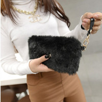 Clueless Elegant Faux Fur Wallet Candy Color Wristlet Clutch Bag