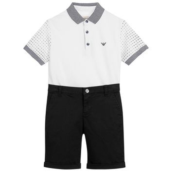 Armani Boys White Poloshirt & Black Shorts Set