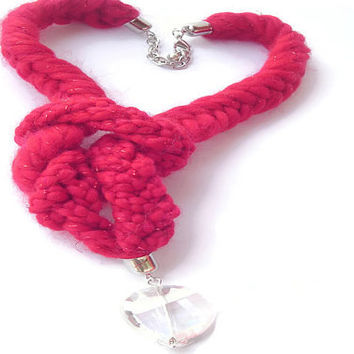 Red Braided Necklace, Knotted Jewelry, Red hot Female Accessorize, Winter Jewellery, Red Women Gifts, Valentines Red Gift, Wool Accessorize