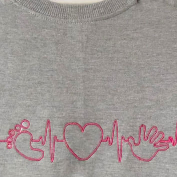 EKG heart beats for baby. Hand print embroidery. Foot print embroidery.  Baby shower gift. Gift for future parents.