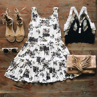 A Floral Babydoll Dress in Black and White