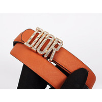 Dior 2019 new diamond-studded smooth buckle belt Orange