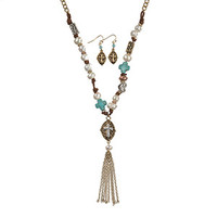 PEARL AND TURQUOISE CROSS TASSEL NECKLACE
