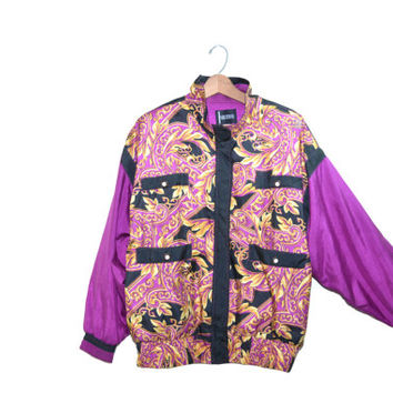 Vintage Bomber Jacket Baroque Bomber Jacket Purple Bomber Jacket 80s Windbreaker 80s Purple Baroque Jacket