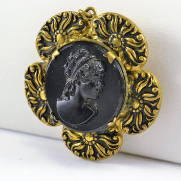 Black Cameo Locket  - Victorian Revival - Black Glass - Antiqued Gold Tone - Cameo Pendant
