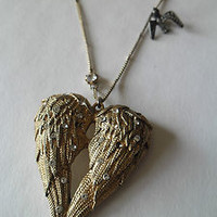 Betsey Johnson Fly With Me Heart Necklace Dove Angel Wing Bird Feathers