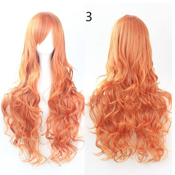 COS Wig Hair Extension woman wigs Hatsune Miku Cosplay Wig long hair wig wigs synthetic hair cap multicolor hair curly wig hair S2312-3