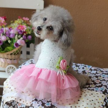 Cheap Clothing Dresses Dog Rose Dots Bear Wedding Party Summer Spring Pet Puppy Animal Apparel Skirt For Chihuahua Yorkie Poodle