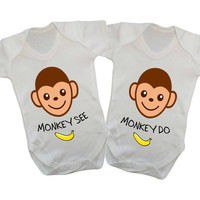 Monkey See Monkey Do (Twins) Matching Baby Onesuits