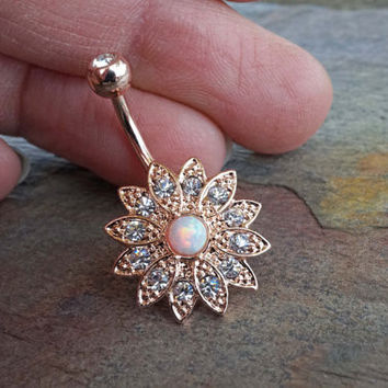 Sparkly White Fire Opal Gold Belly Button from midnightsmojo