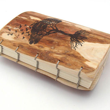 Wood Journal - Rustic Guest Book - Coptic Binding - Tree of Life
