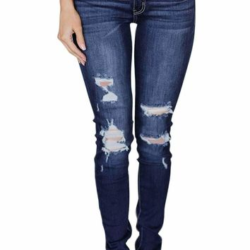 Medium Blue Wash Distressed Skinny Jeans