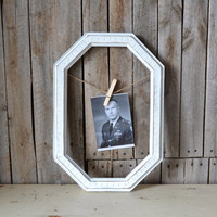 Shabby Chic Vintage White Wooden Octagon Frame With Jute and Clothes Pin
