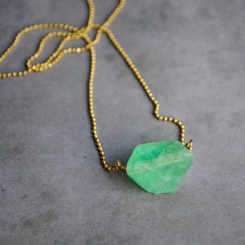 Raw Fluorite Pendant Necklace // Natural Crystal Necklace, Dainty Gold Necklace, Handmade Green Fluorite Necklace N019 by Indigo Lunch