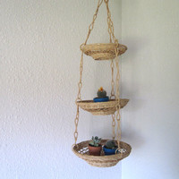 Hanging Three Tier Woven Wicker Baskets - Vintage Fruit and Planter Hanging Baskets
