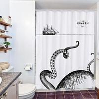 octopus under the ship special custom shower curtain