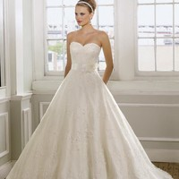 Mori Lee 1612 Strapless Lace A-Line Ball Gown Wedding Dress