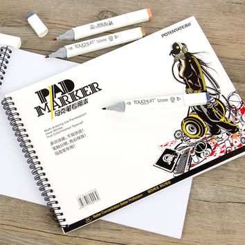 POTENTATE A4 A5 4K Spiral Marker Pad Notebook Paper Sketch Stationery Notepad For Designers Drawing Animation Manga Art Supplies