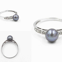 Vintage 14K White Gold, Black Pearl & Diamond Ring, Myer, Cultured Tahitian Pearl, Blue Overtones, Round, Size 6 1/2, Elegant! #c479