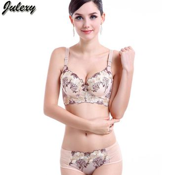 Julexy Brand UnderwearHot 2017 CD Cup Large Size Bra Set Push Up Bra And Panty Sexy Embroidery Women Intimate Lingerie Set