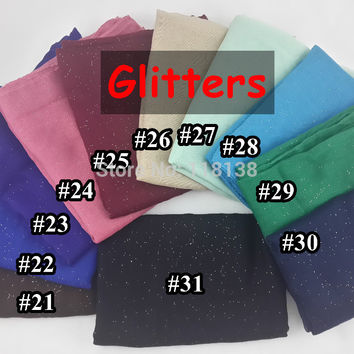 Shimmering Glitter Solid Plain Viscose Shawl Scarf Bling Bling Head Wrap Muslim Hijab, Free Shipping