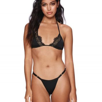 Beach Bunny Farrah Black Eyelash Lace Triangle Top & Tango Bottom Bikini Swimwear Set