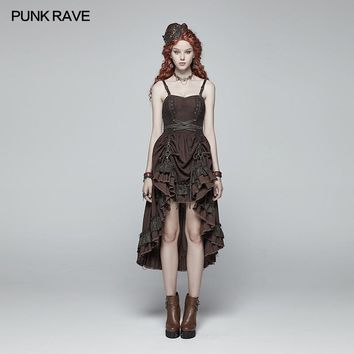 PUNK RAVE Women Fashion Steampunk Vintage Dress Victorian Style Party Ruffles Sexy Sleeveless Dress Sexy Club Party Dresses