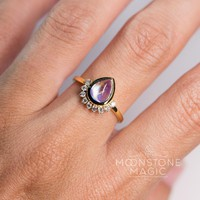 Solid 14kt Yellow Gold Moonstone Ring with Diamonds - Princess