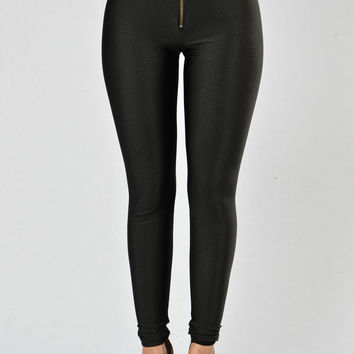 Black Nylon High Waist Leggings