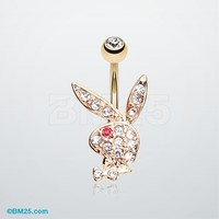 Golden Playboy Bunny Belly Button Ring