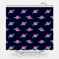 Sugar Rings of Saturn Shower Curtain