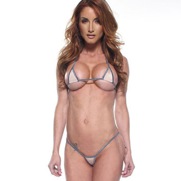 Solid Nude/Beige Euro Style Micro G-String Bikini 2pc Mini Triangle Top Extreme Thong Swimwear Exotic Dancewear Stripper w/ Silver String