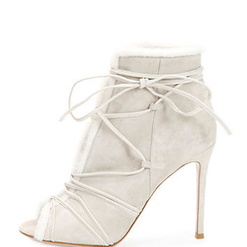 Gianvito Rossi Shearling Fur-Trimmed Lace-Up Peep-Toe Bootie