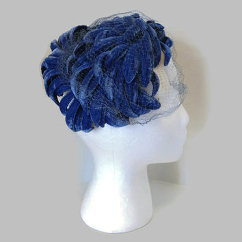 1950s Hat / Gorgeous Blue Velvet Cocktail Hat, Half Hat, Veil Hat or Fascinator
