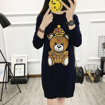 The spring of 2018 the new cute teddy bear long Knitted fabric in Europe and the United States wind  dresses   1848