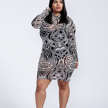 Hedonism Tribal Print Mesh Black And White Long Sleeve Bodycon Dress Plus Size