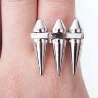 Silver Ring with 3 Sharp Bullets