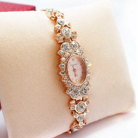 Women's Fashion Stylish Rhinestones Rose Gold Tone Watch