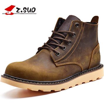 Z . suo fashion trend men's boots, martin boots, tooling male shoes, outdoor cowhide boots, military boots free shipping