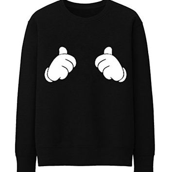 THUMBS UP ALL ABOUT ME MICKEY MOUSE HANDS Unisex Crewneck Sweatshirt Top Funny - Black