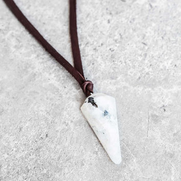 Rainbow Moonstone Pendulum Leather Necklace