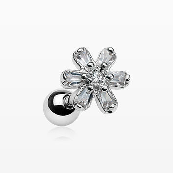Princess Flower Sparkle Cartilage Tragus Barbell
