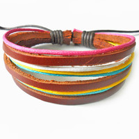 jewelry bangle leather bracelet women bracelet men bracelet ropes bracelet made of leather and hemp ropes cuff bracelet  SH-0456
